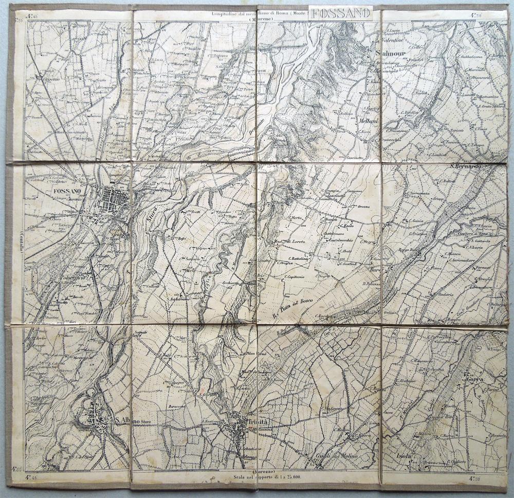 Cartina Militare Piemonte.Fossano Carta Topografica Militare Primo 900 Salmour Gorra